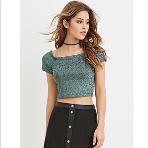 247679c86e0 Forever 21 Tops | Nwt Sparkly Green Crop Top | Poshmark